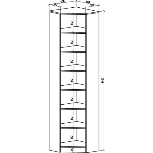 Угловой шкаф Верона-1 2400*600*600