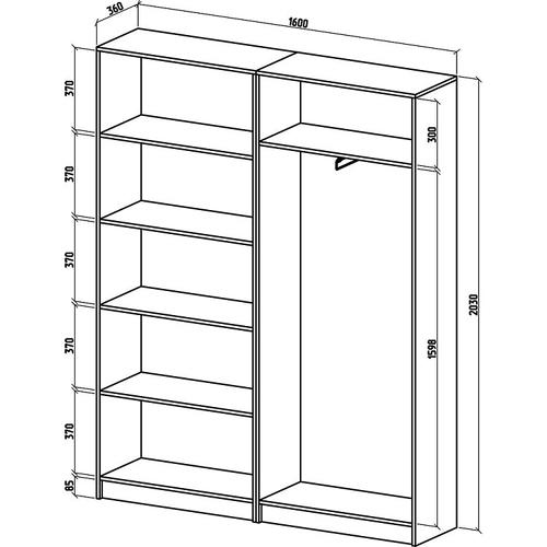 Шкаф Бостон-14 бельевой/платяной (ШБ-5Б + ШБ-6П)