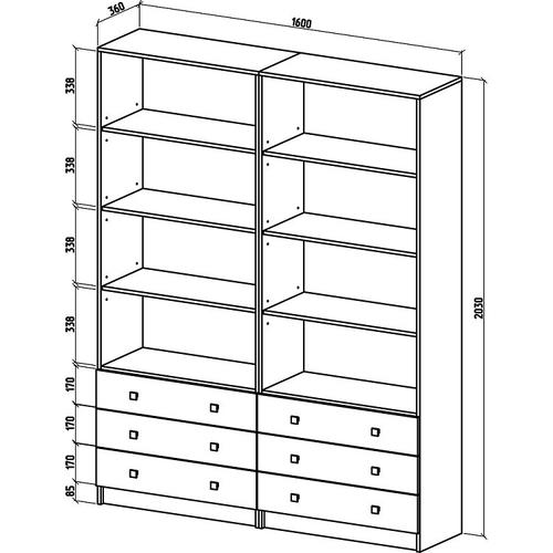 Шкаф Бостон-19 бельевой/бельевой  (ШБ-9Б + ШБ-9Б)