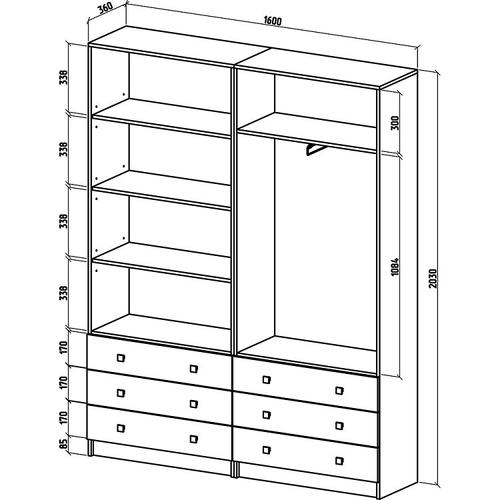 Шкаф Бостон-23 бельевой/платяной (ШБ-11Б + ШБ-12П)
