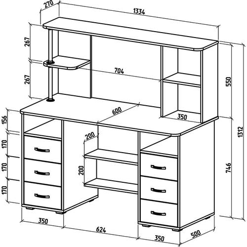 Письменный стол с надстройкой Форест-16