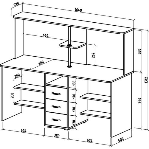Стол для двоих с надстройкой Форест-18